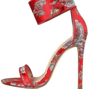 Red Printed Open Toe Button Ankle Band Heels
